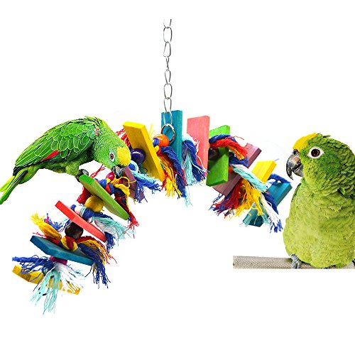 Parrot cage toys bird swing toys bells bird perch with natural Wood Beads Bells Wooden Hammock Hanging Toys for Budgie Lovebirds Conures Parakeet African Greys Amazons Eclectus Cockatoos (Style 5)