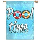 BINGOGO Pool Time Decorative Garden Flag 28''x 40'' Spring Summer Welcome Flag Large Size Banner