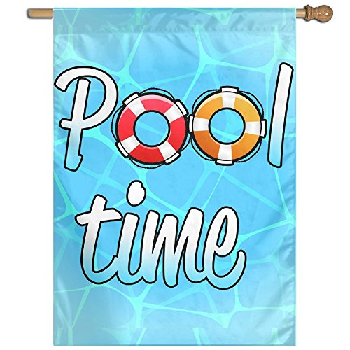 BINGOGO Pool Time Decorative Garden Flag 28''x 40'' Spring Summer Welcome Flag Large Size Banner by BINGOGO
