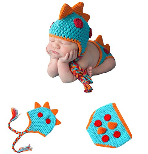 Newborn Baby Dinosaur Photography Outfits Handmade Knitted Photo Props Costume Set