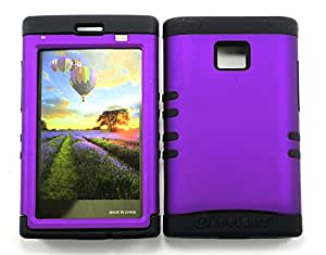SHOCKPROOF HYBRID CELL PHONE COVER PROTECTOR FACEPLATE HARD CASE AND BLACK SKIN WITH STYLUS PEN. KOOL KASE ROCKER FOR LG OPTIMUS LOGIC L35G PURPLE BK-A008-DP