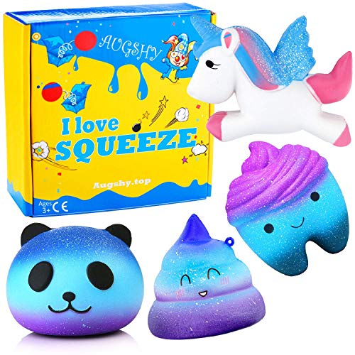 Augshy 4 Pcs in One Galaxy Starry Jumbo Squeezes Pack Including Galaxy Panda,Teeth,Emoji Poo,Unicorn Slow Rising Squeeze Kawaii Scented Charms Hand Wrist Toy …