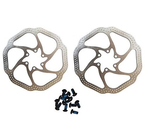 BlueSunshine Cycling Bicycle Bike Brake Disc Stainless Steel Rotors 160mm HS1 With Bolts (2 PCS Bike Brake Rotors)