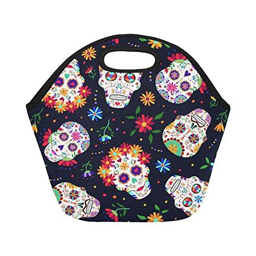 InterestPrint Mexican Sugar Skull Insulated Lunch Tote Bag Reusable Neoprene Cooler, Day of the Dead Portable Lunchbox Handbag for Men Women Adult Kids Boys Girls -