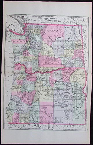 Old Detailed Colored Antique Map - Oregon Washington states 1894 large scarce detailed antique map hand colored