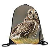 SHORT-EARED OWL 3D Print Drawstring Backpack Sport Gym Bag Daypackon