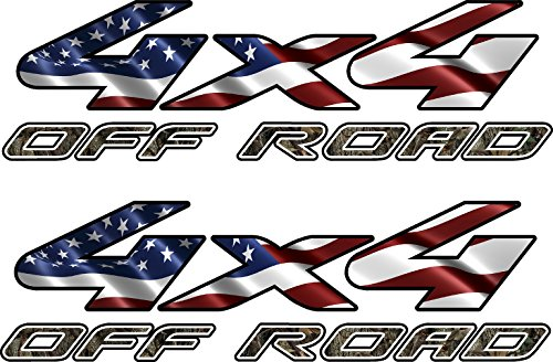 4x4 Truck Offroad Decal Camo American Flag Cast Vinyl Ford, Chevy, Dodge (4 X 4 Decal)