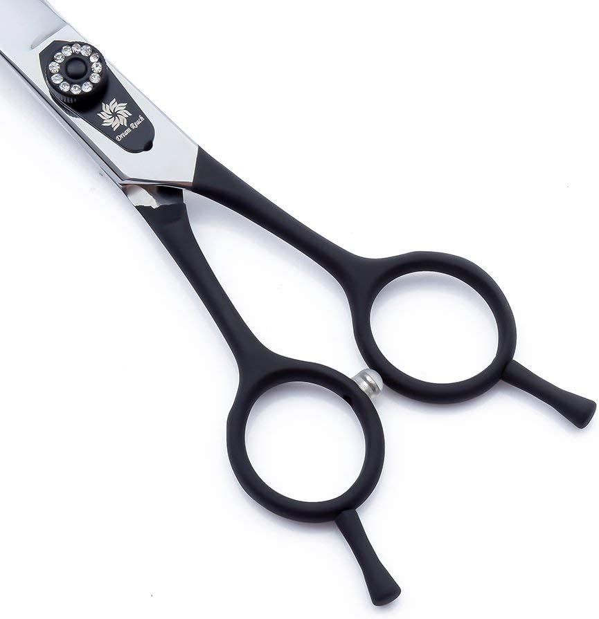 ADXZ Professional 7.5 inches High-end SERIES Lightweight Japan 440C Twin Tail Elastic Handle-Pet Dog Grooming Two-way Curved Scissor Shears,Delicate Screw with Drilling
