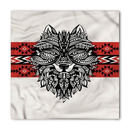 (Ambesonne Unisex Bandana, Wolf Tattoo Style Animal Face, Black)