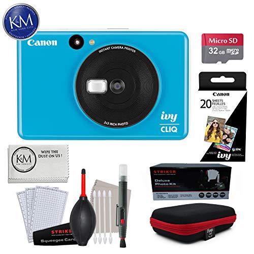 Canon Ivy CLIQ Instant Camera (Seaside Blue) w/Advance Instant Cam Bundle
