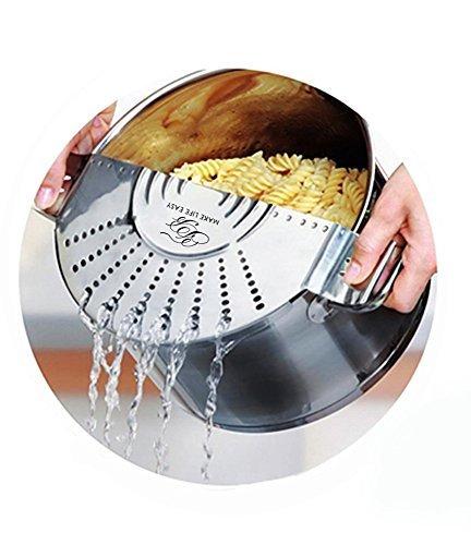 TB Make Life Easy Pot Top Strainer - Stainless Steel Sieve, Smart Design Colander Lid Prevents Hot Water Spills On User