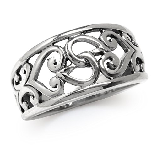 Victorian Style Filigree - 11MM 925 Sterling Silver Filigree Heart Victorian Style Ring Size 6