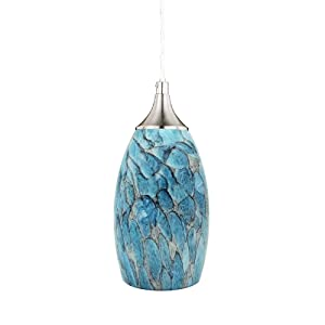 COOSA Hanging Pendant Lighting, Handcrafted Marble Glass Oval Art Shade Hanging Light, Brushed Nickel Finished with Adjustable Cord Mounted Fixture (Blue)