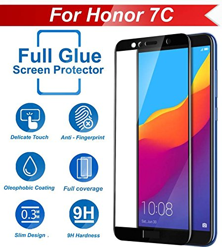 Systek Honor 7c Tempered Glass 5D Full Screen Protector Edge to Edge Screen  Guard for 7C [Full Glue] [NO Rainbow] [SHATTERPROOF] (Black)