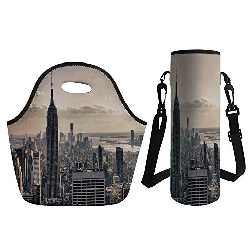 3D Print Neoprene lunch Bag with Kit Neoprene Bottle Cover,NYC Decor,Aerial View of NYC in Winter Time American Architecture Historical Popular Metropolis Photo,Beige Grey,for Adults Kids