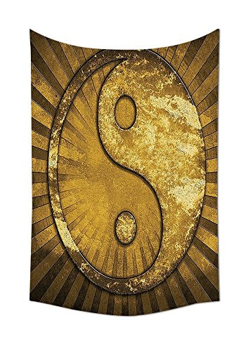 - asddcdfdd Ying Yang Decor Tapestry Wall Hanging Metallic Effect Industrial Design Eastern Decor Asian YingYang on top of Sunburst Pattern Bedroom Living Room Dorm Decor Golden