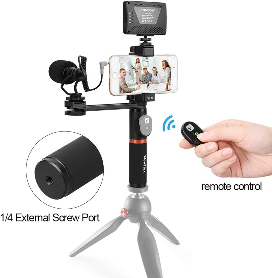 S8 Note 3 Huawei RuleaxA ViewFlex VF-H6 Smartphone Video Rig Hand Grip Handle Stabilizer Kit with Remote Control//LED Light//Video Microphone for iPhone 6 6s Plus for Samsung Galaxy S8
