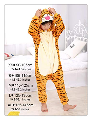 Winter Children Party Costumes for Kids Funny Onesies Cartoon Sleepwear Winter Warm One Piece Soft Animal Pajamas Lovely Tiger -