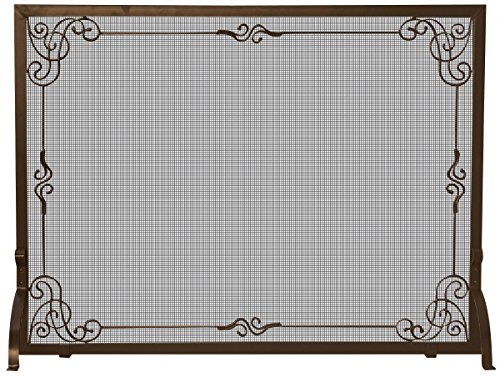 UniFlame Single Panel Bronze Finish Screen with Decorative Scroll - Decorative Scroll Fireplace Screen