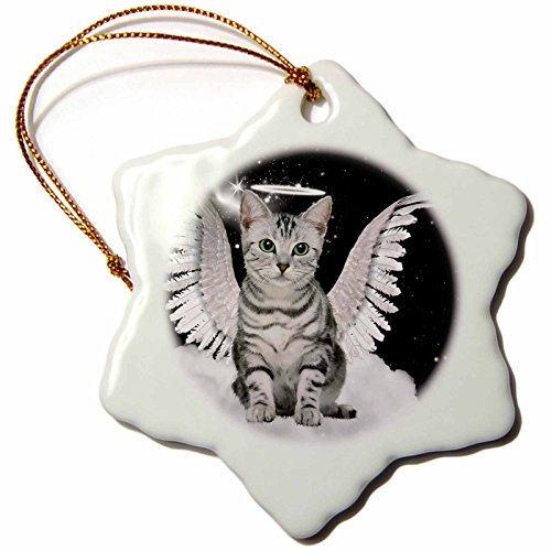 3dRose Doreen Erhardt Cats - Gray Tabby Cat Angel Sitting on a Cloud with a cute Halo and Angel Wings - 3 inch Snowflake Porcelain Ornament (orn_62893_1)