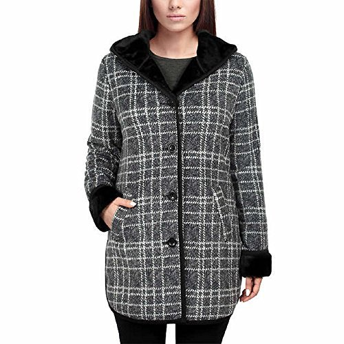 Ike Behar Ladies Plush Lined Hooded Jacket Faux Fur (Small, Charcoal Gray Plaid) (Plush Jacket Hooded)