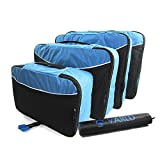 Packing Cubes by Värld, Premium Set of 4 Cubes, Scandinavian Inspiration Luggage Travel Organizer with Laundry Bag (Blue)