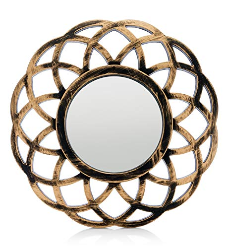 MONOINSIDE® Small Round Framed Wall Mount Glass Mirror, Retro Design, Distressed Gold -