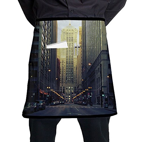 Kjiurhfyheuij Half Short Aprons Wall Street Modern City Waist Apron With Pockets Kitchen Restaurant For Women Men Server