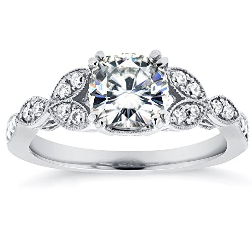 Antique Cushion-cut Moissanite Engagement Ring with Diamond 1 1/5 CTW 14k White Gold