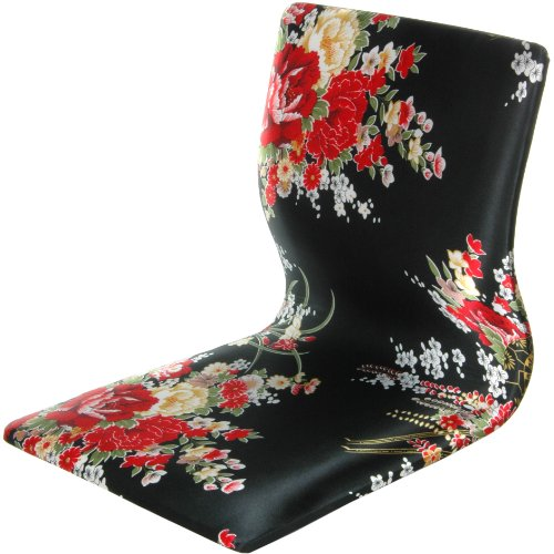 Oriental Furniture Tatami Meditation Backrest Chair - Black & Red Hibiscus