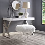 Inspired Home Giselle Cream Faux Fur Ottoman – Modern Acrylic X-Leg | Upholstered | Living Room, Entryway, Bedroom Review