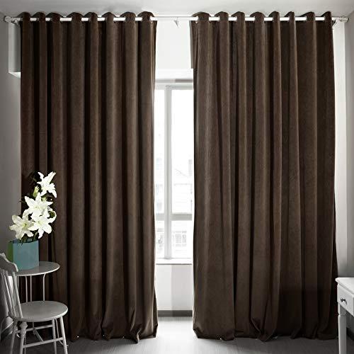 Velvet Eyelet - Eamior 108 Inches Long Velvet Curtain - Classic Velvet Woven Home Theater Eyelet Top Drapes (Chestnut, 1 Piece, W100xL108)
