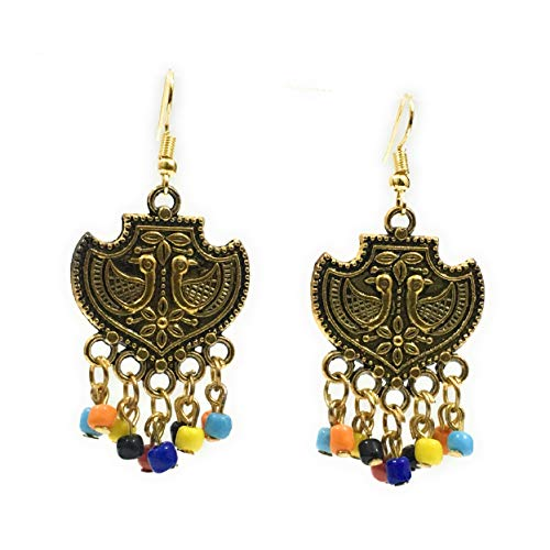 JBN Jewels Handmade Sand Bead Oxidized Golden Plated Drop Earring