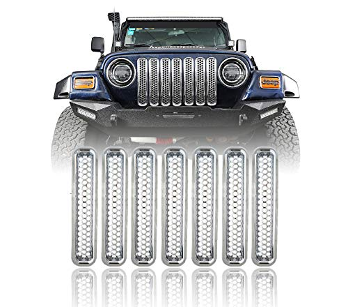 - u-Box Jeep Wrangler Front Grille Mesh Inserts Cover Trim Kit for 1997-2006 Jeep Wrangler TJ