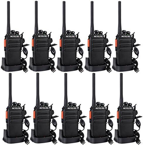Retevis RT24 Walkie Talkie Portofoons PMR446 Vergunningsvrije 16 Kanalen CTCSSDCS VOX Professionele Walkie Talkies met Headset en USBlaadstation 10 Stuks Zwart