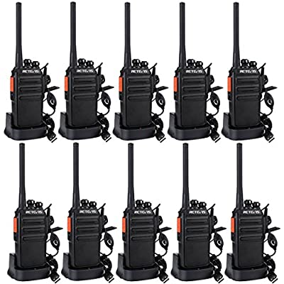 Retevis RT24 Walkie Talkie PMR446 License Free Professional Squelch Encrypt Walkie-Talkie Channels VOX Scan Monitor TOT Way Radio with USB Charger Base and Earpieces Black 5 Pairs