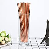 Disposable Paper Straw Hot Stamping Biodegradable Drinking Paper Straw Paper Straw for Drinking Christmas Party Supplies - Pack of 25 (Rose Gold)