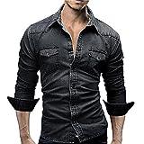 PASATO Clearance Men's Slim Thin Long Tops Shirts Retro Denim Shirt Cowboy Blouse (Black, XXXL)