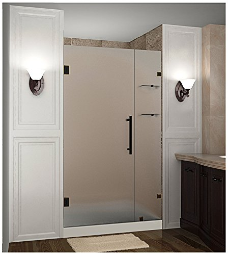 "Aston Nautis GS Completely Frameless Hinged Shower Door in Frosted Glass with Shelves, 41"" x 72"", Oil Rubbed Bronze"