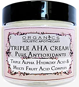 AHA Face Cream ORGANIC Natural Triple Alpha Hydroxy Acid & Multi Fruit Acids Complex. Lac­tic Acid, Glycolic Acid, Citric Acid, and Malic and Tartaric Acids Plus Antioxidants 1 OZ Glass Jar