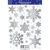 Winter Wonderland Christmas Party Snowflake Glitter Vinyl Window Decoration, Silver, Vinyl, Assorted Sizes, 19-Piece