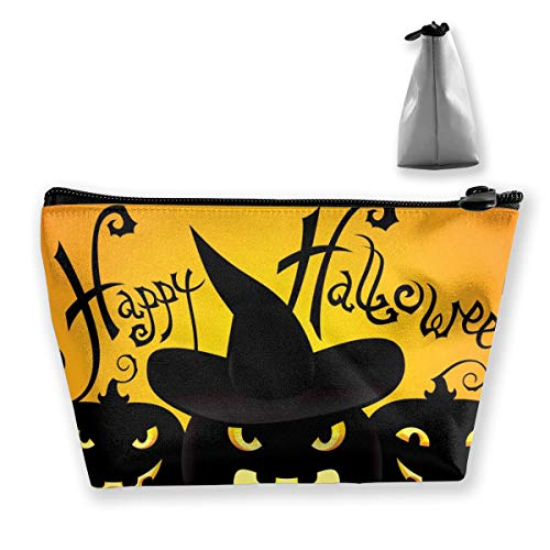 RobotDayUpUP Happy Halloween Womens Travel Cosmetic Bag Portable Toiletry Brush Storage Print Pen Pencil Bags Accessories Sewing Kit Pouch Makeup Carry Case -