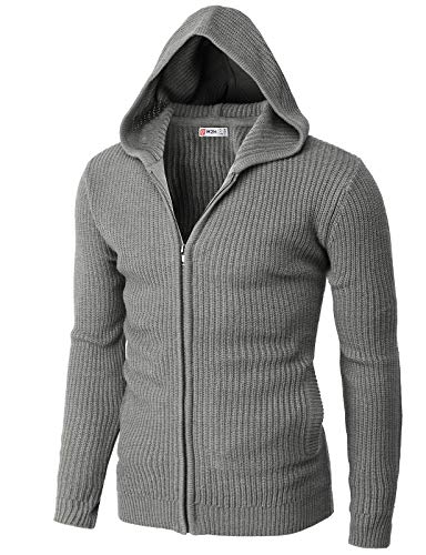 H2H Mens Casual Slim Fit Cardigan Sweater Knitted Zipper Closure Gray US M/Asia L (CMOCAL045)