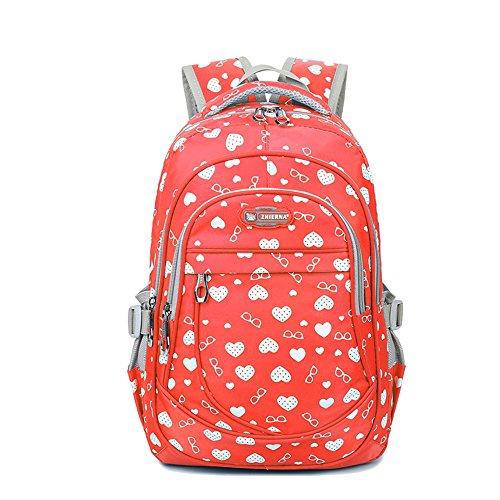 UniquQ Waterproof Nylon Backpack with Print School Backpacks For Girls Kids Elementary School Large Capacity Bookbag Daypack Purse (orange) - Print Backpack Handbags