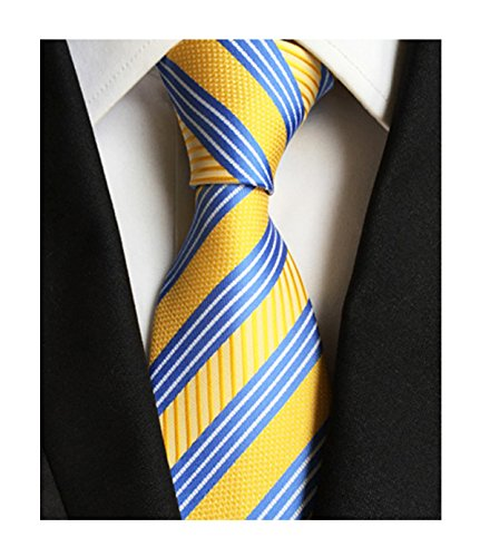 Men's Modern Repp Striped Blue and Yellow Jacquard Woven Silk Tie Casual Necktie