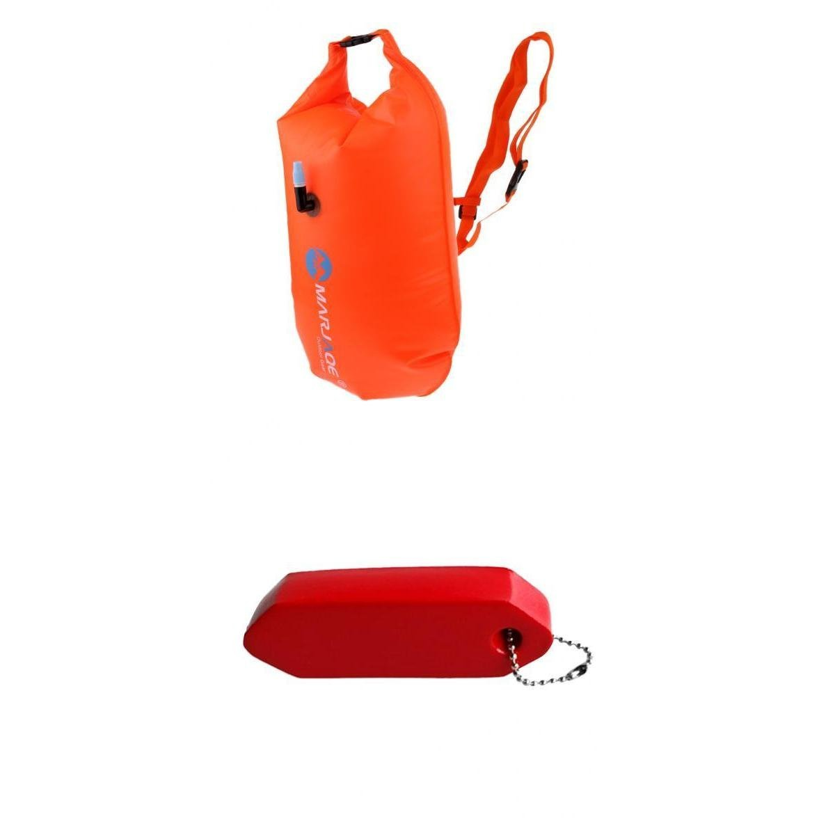 MagiDeal High Visibility Inflatable Dry Bag Water Swim Float Tow Bag Keychain Keyring