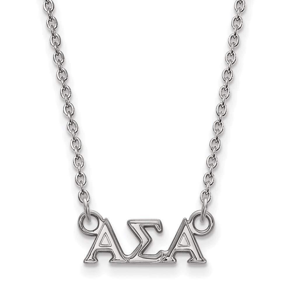 Lex /& Lu LogoArt Sterling Silver Alpha Sigma Alpha XS Pend w//Necklace LAL160958