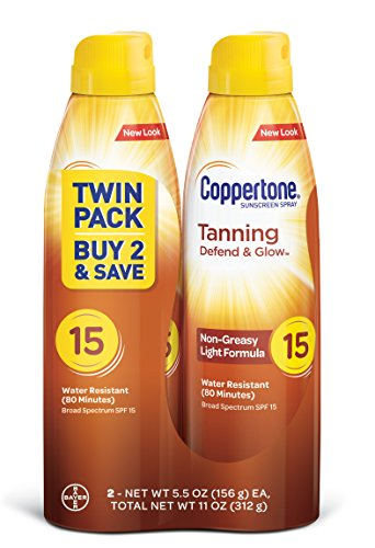 Coppertone Tanning Defend & Glow Sunscreen Continuous Spray Broad Spectrum with SPF 15, 11 Ounce
