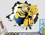 Minions Stuart Banana Wall Decal Smashed 3D Sticker Vinyl Decor Mural Movie Kids - Broken Wall - 3D Designs - AH129 (Giant (Wide 50'' x 46'' Height))
