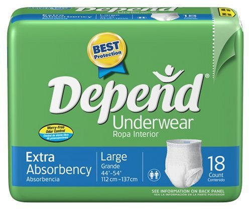 Amazon.com: Depend Underwear, Large, 18-Count Packages (Pack of 4): Health & Personal Care